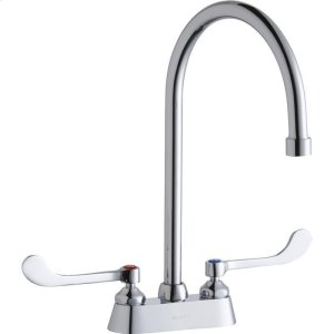 """Elkay 4"""" Centerset with Exposed Deck Faucet with 8"""" Gooseneck Spout 6"""" Wristblade Handles Chrome Product Image"""