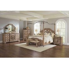 Ilana Traditional Antique Linen Canopy Queen Bed