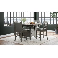 Manchester High/low Square Dining Table With Four Chairs - Grey