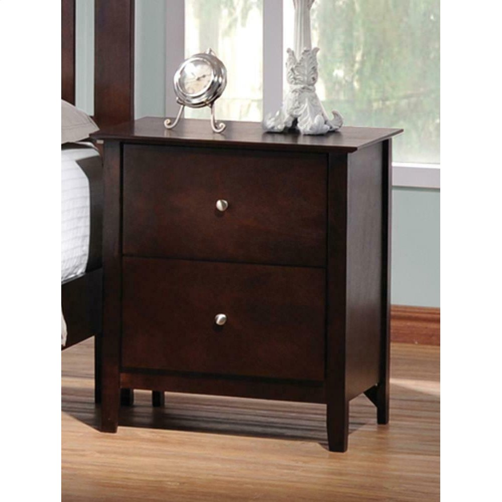 Tia Cappuccino Two-drawer Nightstand