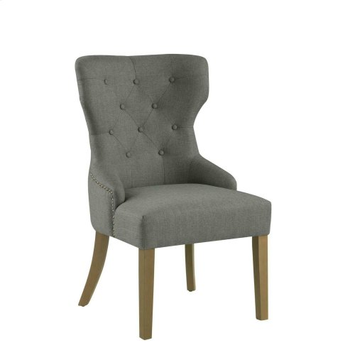 Modern Grey and Natural Tufted Dining Chair
