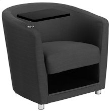 Charcoal Gray Fabric Guest Chair with Tablet Arm, Chrome Legs and Under Seat Storage
