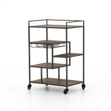 Waxed Black Finish Helena Bar Cart