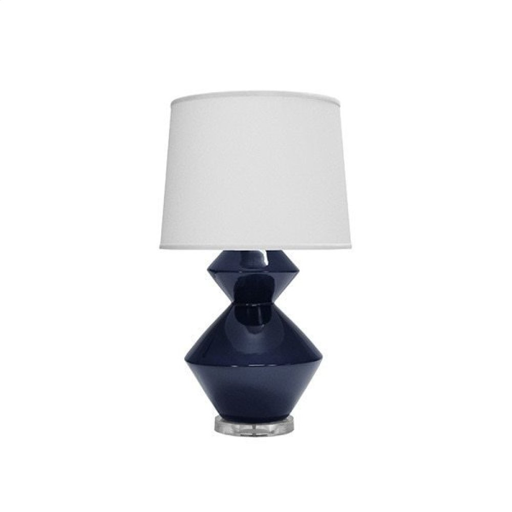 Two Tier Ceramic Table Lamp In Navy With White Linen Shade