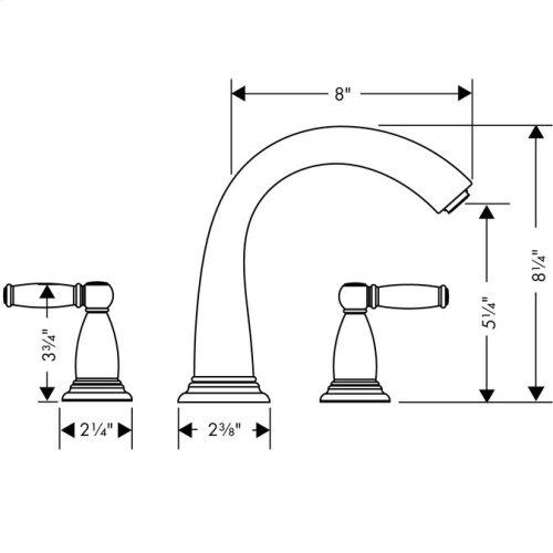Chrome 3-Hole Roman Tub Set Trim with Lever Handles