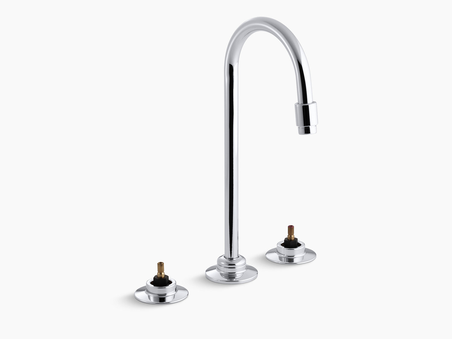Kohler K7304kcp Studio41 Polished Chrome Widespread Commercial Bathroom Sink Faucet With Flexible Connections And Gooseneck Spout Requires Handles
