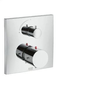 Chrome Thermostat for concealed installation with shut-off valve Product Image