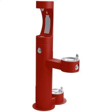 Elkay Outdoor ezH2O Bottle Filling Station Bi-Level Pedestal, with Pet Station Non-Filtered NonRefrige Freeze Resistant Red