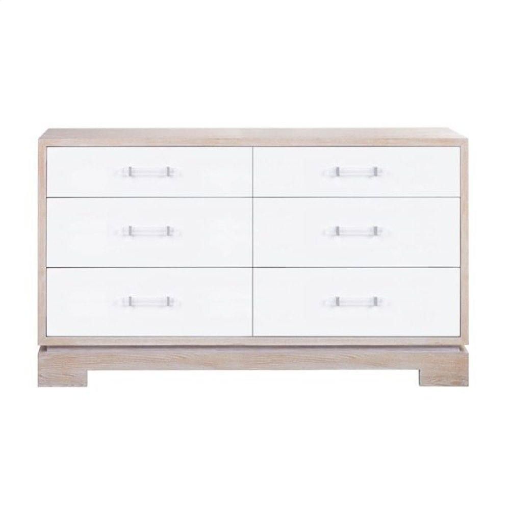Six Drawer Chest With Acrylic and Nickel Hardware In Matte Lacquer and Cerused Oak
