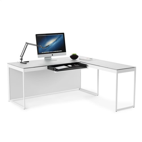 Desk 6401 in Satin White Painted Oak Grey Glass