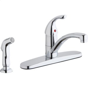 Elkay Everyday Four Hole Deck Mount Kitchen Faucet with Lever Handle and Side Spray and Escutcheon Chrome Product Image