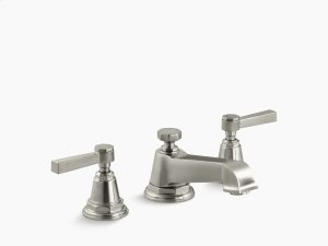 Vibrant Brushed Nickel Pure Widespread Bathroom Sink Faucet With Lever Handles Product Image