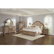 Ilana Traditional Antique Linen and Cream Queen Storage Bed Four-piece Set Product Image