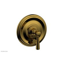 HEX TRADITIONAL Pressure Balance Shower Plate with Diverter and Handle Trim Set 4-096 - French Brass