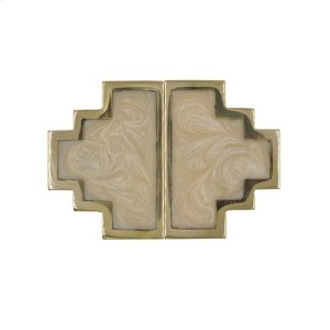 Geometric Brass Knob Pair With Inset Resin In Pearl Cream Product Image