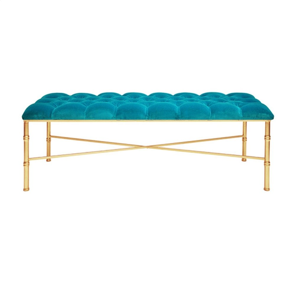 Gold Leafed Bamboo Bench With Turquoise Velvet Tufted Upholstery