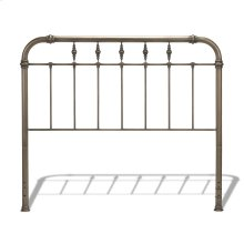 Vienna Metal Headboard Panel with Spindles and Intricately Carved Finials, Aged Gold Finish, Queen