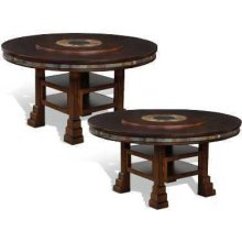 "Santa Fe 60"" Round Dual Height Table w/ Lazy Susan"