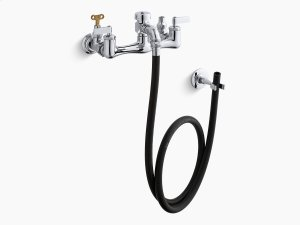Polished Chrome Double Lever Handle Service Sink Faucet With Loose-key Stops, Rubber Hose, Wall Hook and Lever Handles Product Image