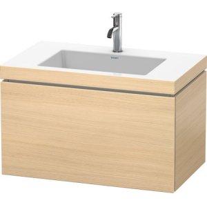 Furniture Washbasin C-bonded With Vanity Wall-mounted, Mediterranean Oak (real Wood Veneer)