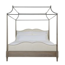 King-Sized Auberge Poster Bed with Metal Canopy in Weathered Oak (351)