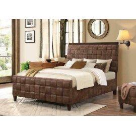 Gallagher Brown Microfiber Upholstered Queen Five-piece Bedroom Set
