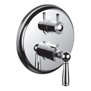 """7098ep-tm - 1/2"""" Thermostatic Trim With 3-way Diverter Trim (shared Function) in Satin Orobrass"""