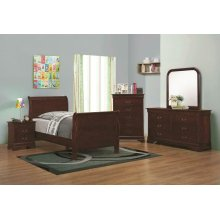 Louis Philippe Red Brown Two-drawer Nightstand
