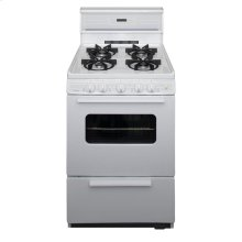 24 in. Freestanding Sealed Burner Spark Ignition Gas Range in White