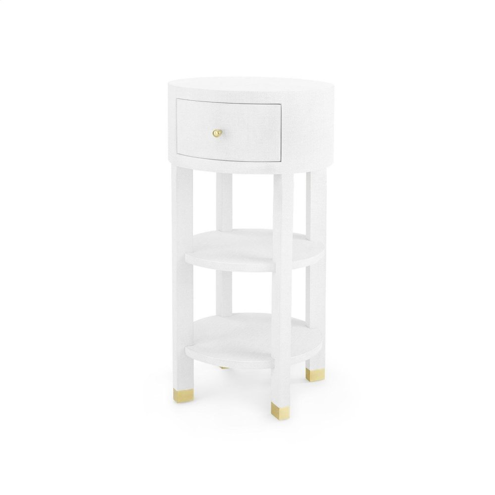Claudette 1-Drawer Round Side Table, White
