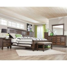 Franco Burnished Oak Queen Bed