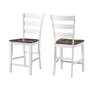 Kona Ladder Counter Stool  Gray and White
