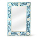 This magnificent Wall Mirror features sophisticated artistry and consummante craftsmansip. The botanic patterns covering the piece are created from white bone inlays cut and individually applied in a sea of blue by the hands of a skillful artisan. No two Product Image