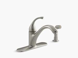 """Vibrant Brushed Nickel 4-hole Kitchen Sink Faucet With 9-1/16"""" Spout, Matching Finish Sidespray Product Image"""