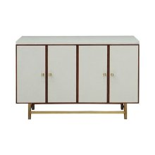 Four Door Cabinet With Fishscale Cream Faux Shagreen and Wood Trim