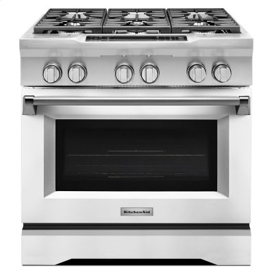 36'' 6-Burner Dual Fuel Freestanding Range, Commercial-Style Imperial White Product Image