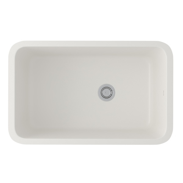 Pergame Biscuit Allia Fireclay Single Bowl Undermount Kitchen Sink