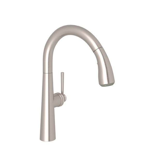 Satin Nickel Lux Pull-Down Kitchen Faucet with Lux Metal Lever