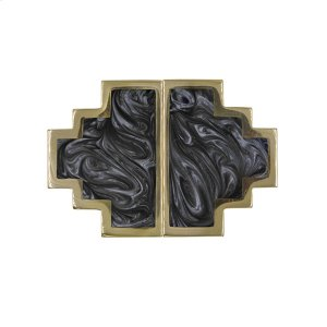 Geometric Brass Knob Pair With Inset Resin In Charcoal Product Image