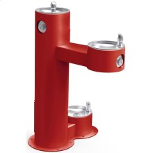 Elkay Outdoor Fountain Bi-Level Pedestal with Pet Station, Non-Filtered Non-Refrigerated, Freeze Resistant, Red