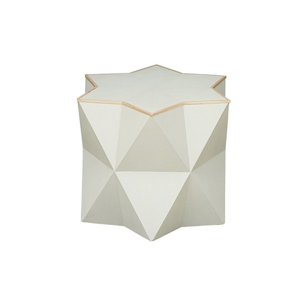 Star Side Table In Cream Faux Shagreen