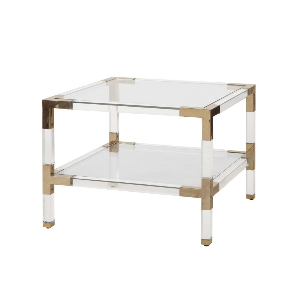 Two Tier Acrylic Side Table With Brass Corner Details.