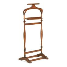 Crafted from all selected hardwoods. Soft shouldered shaped hanger. Coin shelf.