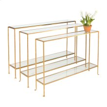 Medium Hammered Gold Leaf Console With Clear Glass Shelves.