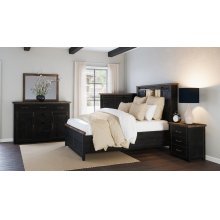 Madison County 3 PC Queen Barn Door Bedroom: Bed, Dresser, Mirror - Vintage Black