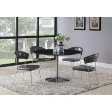 Healy Contemporary Black Marble and Brushed Nickel Dining Table