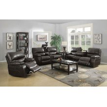 Willemse Chocolate Reclining Loveseat With Storage Console