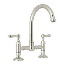 Polished Nickel Italian Kitchen San Julio Deck Mount C-Spout Bridge Kitchen Faucet with Metal Lever