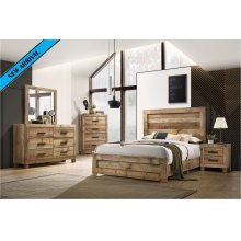 8311 Antique Natural Queen Complete Group (Queen Bed, D, M, C)