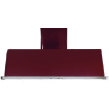 "Burgundy with Stainless Steel Trim 60"" Range Hood with Warming Lights"